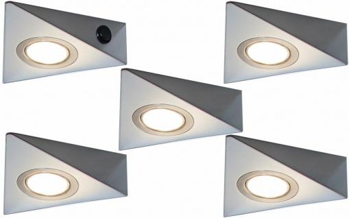 5er Set LED Edelstahl Unterbaulampe Unterbauleuchte Küche 5x3 W warmweiß *548842