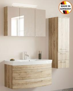 Badmöbelset Modena Badset 3 Teile Waschplatz 100 cm Badeinrichtung eiche hell