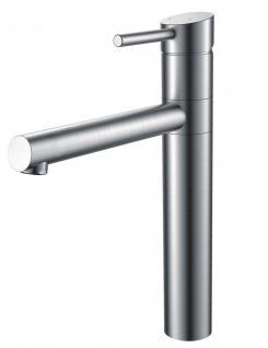 Küchen Armatur Edelstahl massiv Wasserhahn 90° schwenkbar Mischbatterie *0576