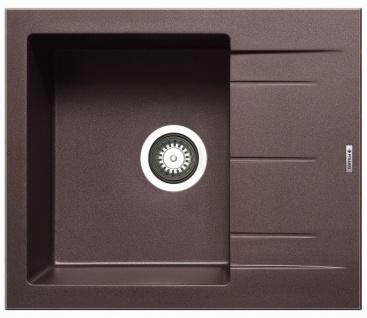 Einbauspüle 59x50 cm modern Küchenspüle Alazia Spülbecken chocolate Single Spüle