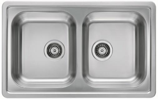 Küchenspüle 81 cm Doppelspüle Einbau Leinenstruktur Doppelspülbecken *1009385