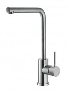 Küchen Armatur Edelstahl massiv Wasserhahn 90° schwenkbar Mischbatterie *0573
