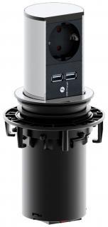 Küchen Einbau Schuko Steckdose ELEVATOR ausfahrbar 2 x USB 1 x Schuko *559565