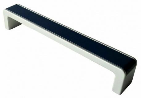 Möbelgriff massiv Küchengriff chrom matt/blau Schrankgriff BA 160 mm modern*9074