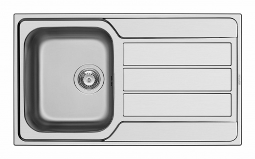 Einbauspüle Edelstahl Küchenspüle 86 cm Hahnloch Spülbecken Ablauf *101100112