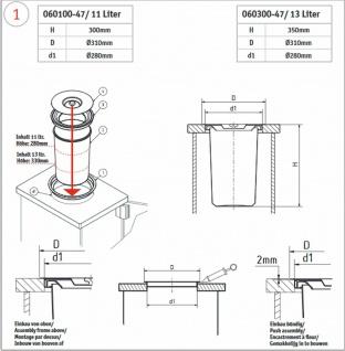 Wesco Ergomaster Mülleimer Einbau Arbeitsplatte Bioeimer 13 L Abfalleimer *47309 - Vorschau 4