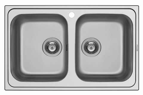 Edelstahl Doppelspüle 79 cm Doppelspülbecken Küchenspüle Einbauspüle *107153112