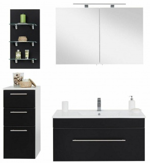 Badmöbelset 4 Teile Waschplatz 100 cm Komplettset Badezimmer schwarz seidenglanz