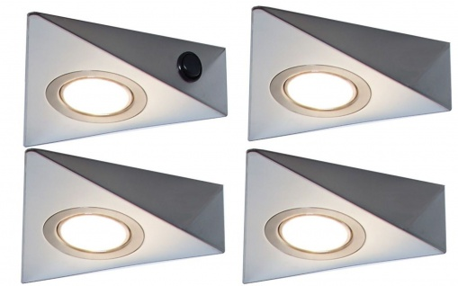 LED 4-er Set Dreieck Küchen Unterbauleuchte 4 x 3 Watt Lampenset 3200 K *548835