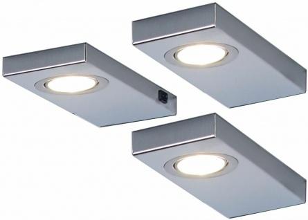 3-er Set LED Unterbauleuchte Küche 3x3 W Edelstahl Unterbaulampe warmweiß 548866