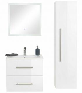 Badet 3 Teile Waschplatz 60 cm LED Spiegel Hochschrank Badmöbel Set *HoLi-Set4