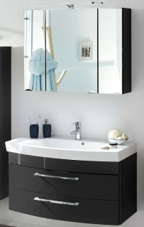 Badmöbel Badset 100 cm Waschtisch & LED Spiegelschrank Badezimmer Möbel *2008-84