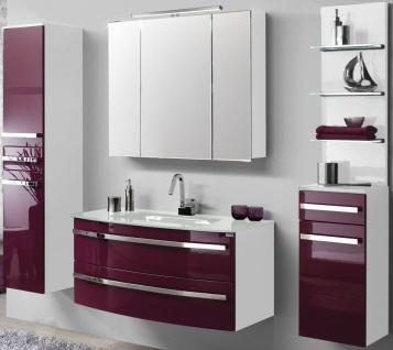 Badmöbel Set 5 Teile Waschplatz Glasbecken 111 cm LED Spiegelschrank Regal *5001