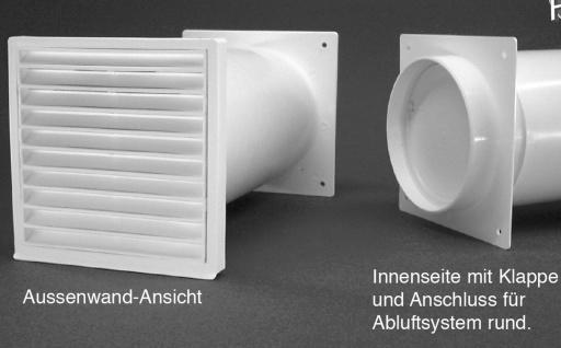 Mauerkasten Abluft Ø 125 mm Dunstabzug ausziehbar 45 cm Rückstauklappe *50217