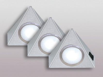 LED 3-er Set Dreieck Unterbau-/Möbel-/Küchenleuchte 3 x 3, 5 W Edelstahl *543717