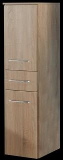 Badmöbel Hochschrank 35x130 cm hängend 2 Türen Holzdekor Schublade Ramero *10325