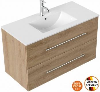 Waschtisch mit Unterschrank 100 cm Waschplatz Homeline Badmöbel mit 2 Schubladen