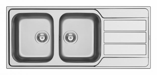 Doppelspüle 116 cm Doppelspülbecken große Küchenspüle Edelstahlspüle *101102012