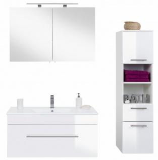 Badmöbel Set Viva mit Waschbecken 3 Teile Waschtisch 100 cm Spiegelschrank weiß