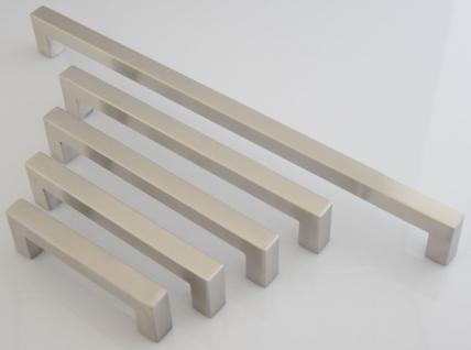 Küchen Möbelgriff BA 96, 128, 160, 192, 320 mm Edelstahl gebürstet 14 x 14 mm *605