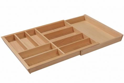 Besteckeinsatz Holz Besteckkasten ausziehbar Schublade 80-100 cm Buche massiv