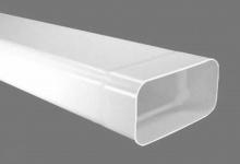 Abluft Flachkanal 150 x 70 mm Lüftungsrohr 100 cm Muffe einseitig Weiss *526857
