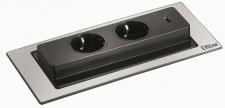EVOline BACKFLIP Schuko Küchen Einbausteckdose 215 x 88 mm USB-Charger *549177