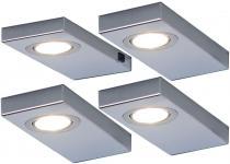 LED 4-er Set Möbel-/Küchen-/Unterbauleuchte je 3 Watt Edelstahl 3200 K *548873