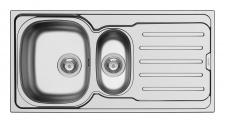 Einbauspüle Küche 100 x 50 cm Spül Abwaschbecken 1, 5 Becken Edelstahl *101101812