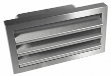 Edelstahl Abluft Aussengitter Flachkanal 150 x 70mm Rückstauklappe DN125 *527410