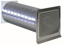 Abluft ISO-Mauerkasten Ø 150 mm Aussengitter Edelstahl Rückstauklappe *568345