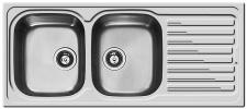 Edelstahl Küchen Einbauspüle 116 x 50 cm Doppelspüle Doppelbecken *107121312