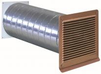 Abluft ISO-Mauerkasten Ø 125 mm Rohr Aussengitter Kupfer Rückstauklappe *568338