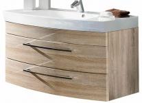 Waschplatz 100 cm Waschtisch 2 Schubalden Softeinzug Mineralgussbecken *5870-14