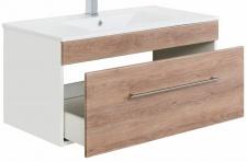 Waschtisch VIVA hängend Waschplatz 100 cm Keramikbecken 1 Schublade Eiche hell