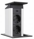 EVOline Port Push 1 x USB Charger Edelstahl 2 x Einbau-/Küchensteckdose *558285