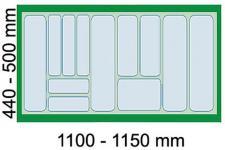 Dirks Schubladen-/Besteckeinsatz 120 cm Schrank kürzbar Besteckkasten Grau*41930