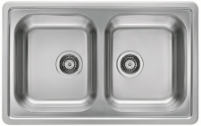 Alveus Küchenspüle Einbauspüle 810x510 mm Leinen-Struktur Doppelbecken *1009385