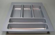Besteckeinsatz Teck Schubladen Besteckkasten 45 cm zuschneidbar PVC Grau *44572