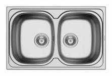 Pyramis Einbau Küchenspüle Edelstahl 790 x 500 mm 2 Becken Doppelspüle 100132802