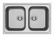 Küchen Einbauspüle 79 x 50 cm Doppelbecken Edelstahl Doppelspüle *101100602