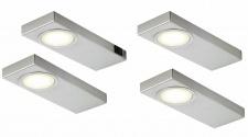 4-er Set Edelstahl LED Küchen Unterbauleuchte je 3, 5 W Warmweiss Licht *549252