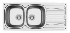 Einbauspüle Küchen Doppelspüle 1160 x 500 mm Edelstahl Doppelbecken *100133112
