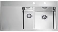 Alveus Pure 60 Spüle 980 x 525 mm Edelstahl Küchen Einbaupüle 1, 5 Becken*1103655