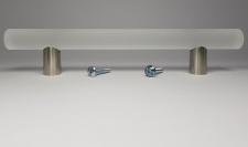 Küchengriffe BA 128 mm Möbelgriffe Glas satiniert & Edelstahl Optik Griff *9041