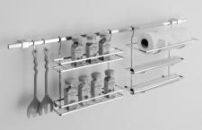 Edelstahl Küchenreling Set Reling 120 cm Rollenhalter Gewürzregal S-Haken *42101