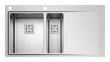Küchen Einbauspüle 100 x 52 cm 1, 5 Spülbecken Edelstahl Drehknauf *Olynthos-1.5