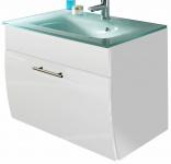 Waschplatz 70 cm Waschtisch Aquamarin Glasbecken 1 Wäscheklappe Gäste Bad *5620