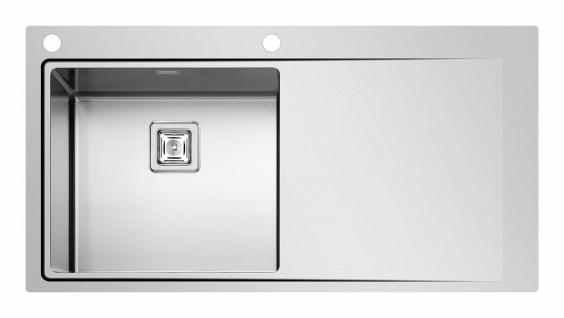 Große Küchenspüle Edelstahl 100 cm Gastro Einbauspüle Becken Hahnloch *Olynthos