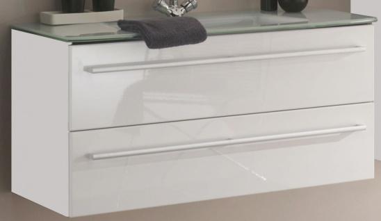Waschtisch 111 cm Schubladen SoftClose Glasbecken Gäste Waschplatz *WP-Jol-111